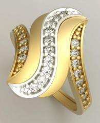 Золотое кольцо 585 пробы с камнями
