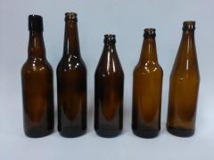 Стеклянная бутылка пивная коричневая объемом 0,5 л