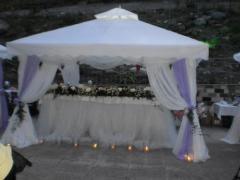 Аренда реквизитов для мероприятий - шатры, стулья, стойки, столы, стулья, фейерверки, пирамида напитков, мальберты